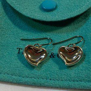 RARE Elsa Peretti Full Heart Silver Drop Earrings